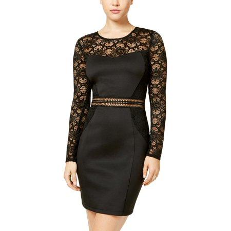 BCX Womens Juniors Lace Overlay Sheer Bodycon Dress (Sheer Overlay Dress)