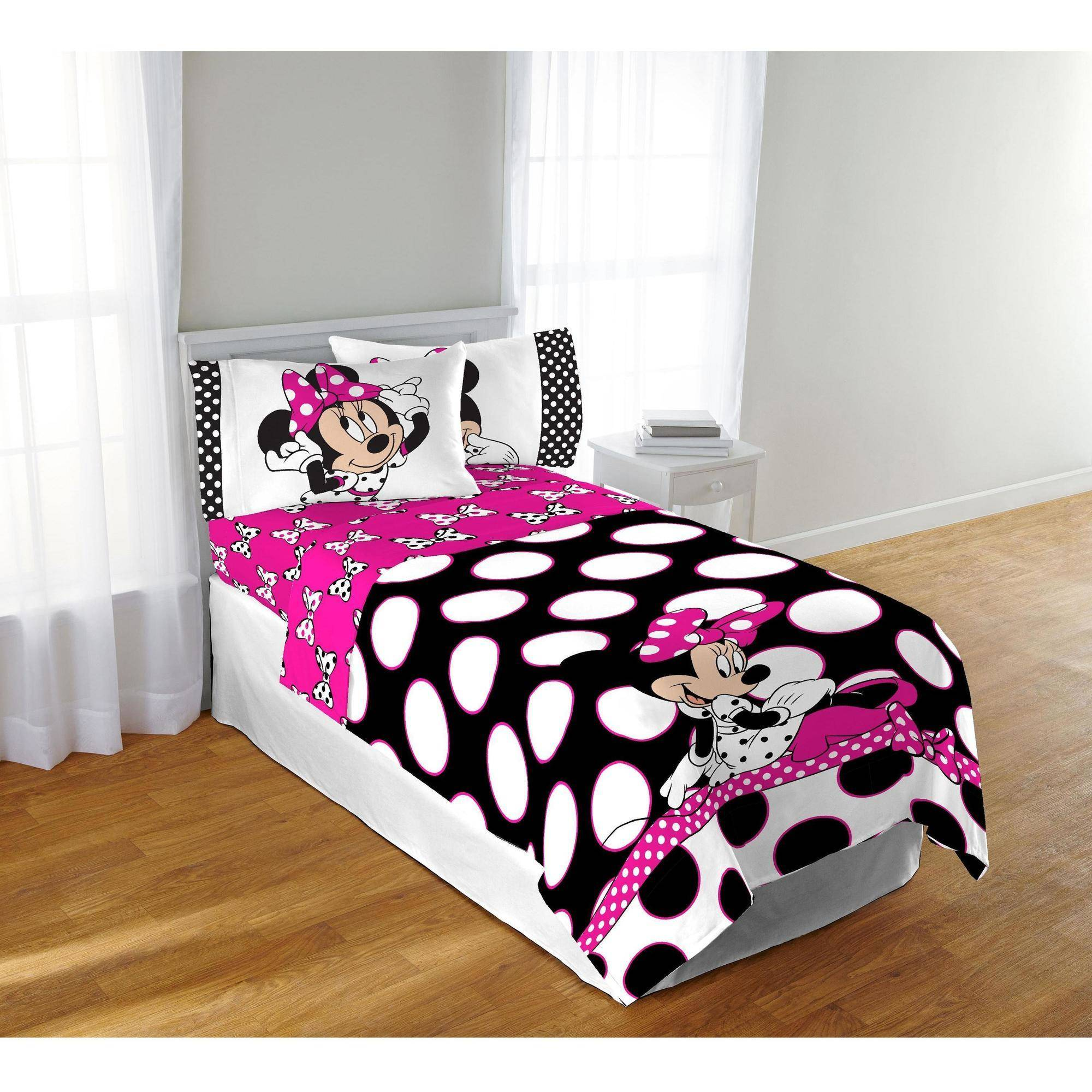 disney minnie dots are the new black twinfull comforter  walmartcom -