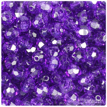 BeadTin Amethyst Transparent 10mm Faceted Round Craft Beads (210pcs)