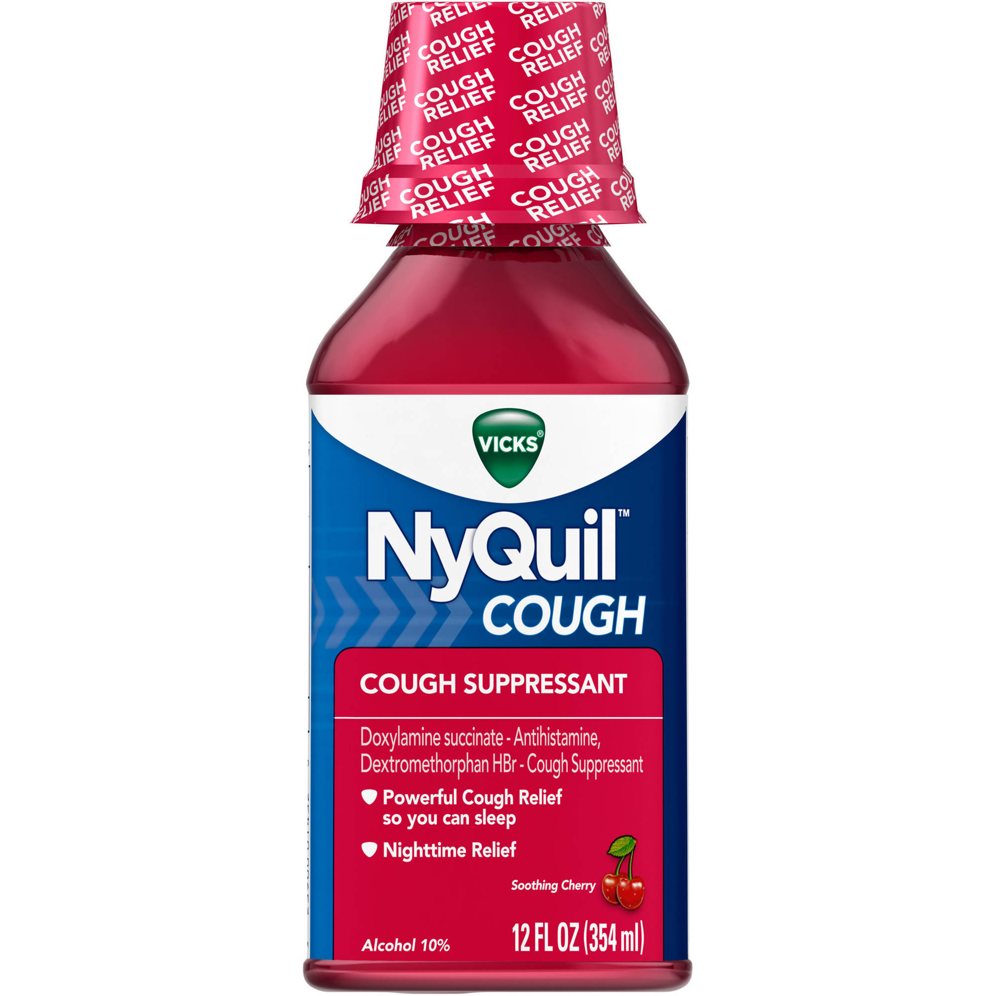 Vicks NyQuil Cough Soothing Cherry Liquid Cold Medicine, 12 fl oz