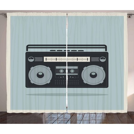 Hip Hop Curtains 2 Panels Set, Classic 1980s Boombox Image on Doodle Retro Background Nostalgic Urban Ghetto Theme, Window Drapes for Living Room Bedroom, 108W X 108L Inches, Multicolor, by Ambesonne](1980s Theme)