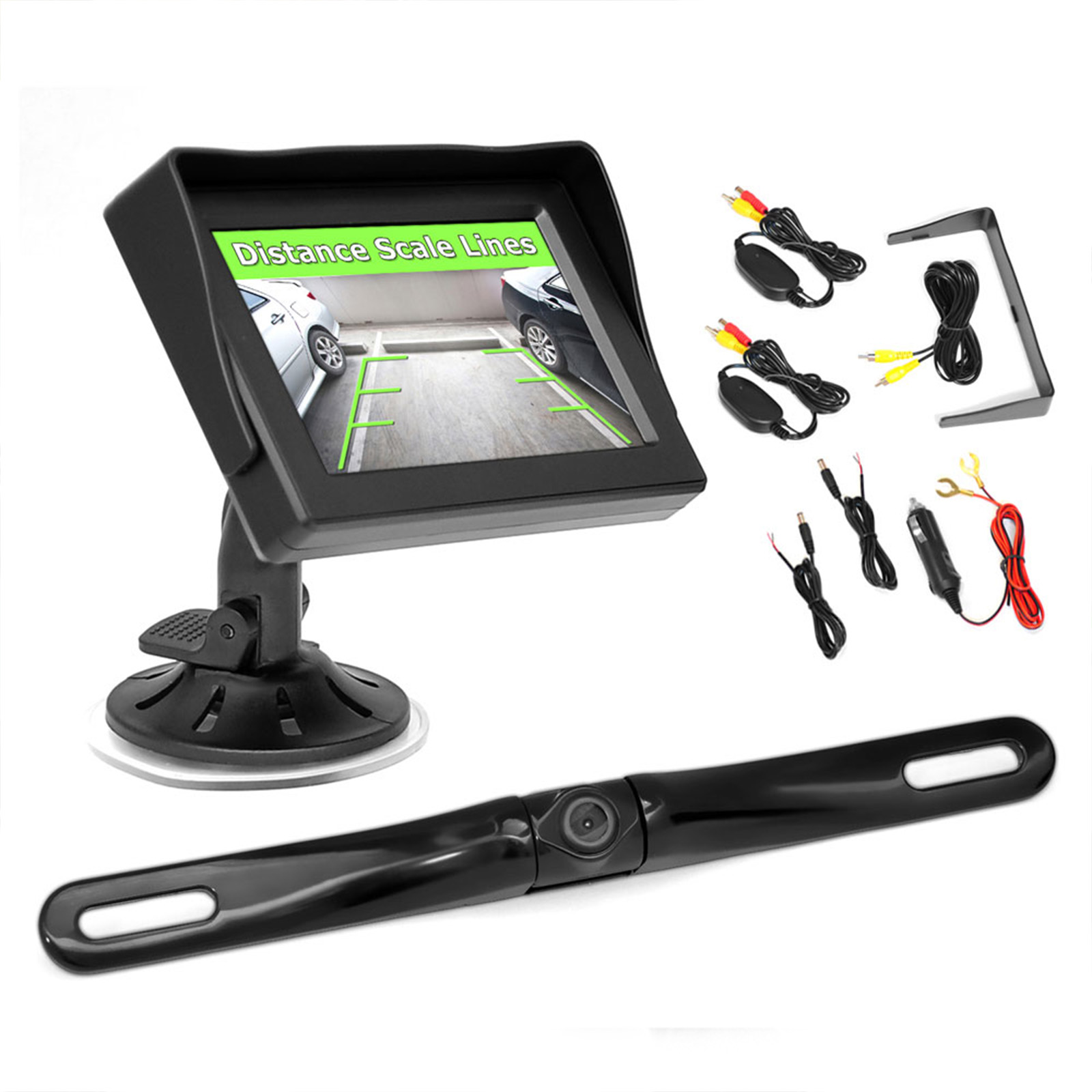 "Pyle cord free Transmiss Back-Up Rearview Parking Assist System Kit with License Plate Camera, 4.3"" Monitor and cord free Adapters"