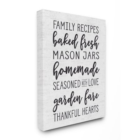 Mason Jar Art (The Stupell Home Decor Collection Family Recipes Baked Fresh Garden Mason Jars Subtle Birch Typography Stretched Canvas Wall Art, 16 x 1.5 x)