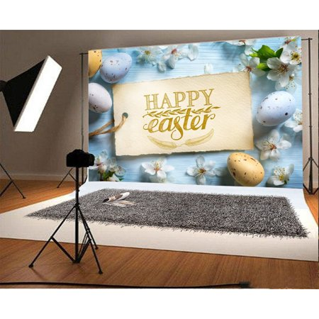 GreenDecor Polyester Happy Easter Backdrop 7x5ft Christian Rebirth Holiday Party Decoration Eggs Flowers Greeting Card Spring Hope Newborn Baby Theme Children B for $<!---->