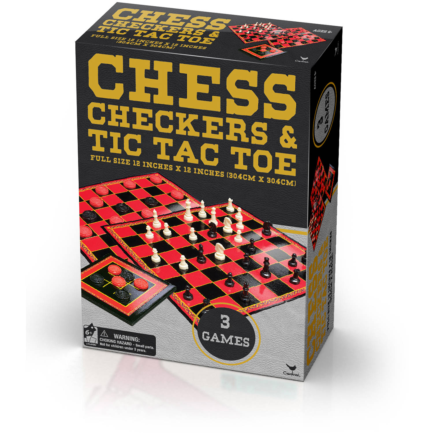 Cardinal Classic Games Chess, Checkers and Tic Tac Toe in Gold Foil Box