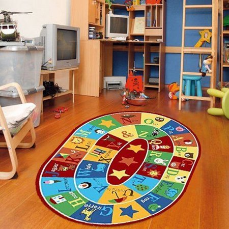 "Furnish my Place Kids Rug ABC Animals Children Area Rug Anti Skid Actual Oval Size 6'6""x9'2"""