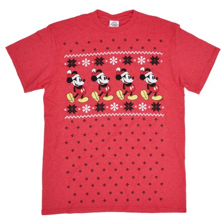 d9c32f1ba180c Men s Mickey Mouse Festive Snowflakes Christmas T-Shirt - Red Medium -  image 1 ...