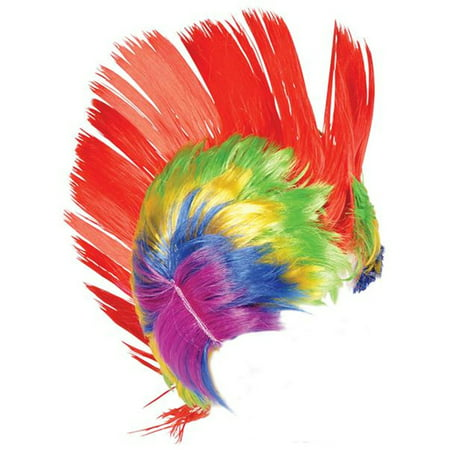 Adult Rainbow School and Team Spirit Mohawk Wig with LED lights - Rainbow Afro Wig