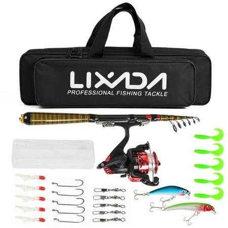 Lixada Carbon Fiber Telescopic Fishing Rod and Reel Combo Full Kit Spinning Fishing Reel Fishing Lure Gear Organizer Pole Set