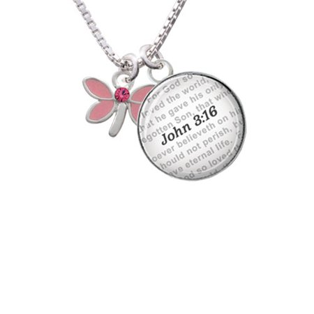 Glass Dove Necklace - Pink Dragonfly with Crystal - Bible Verse John 3:16 Glass Dome Necklace