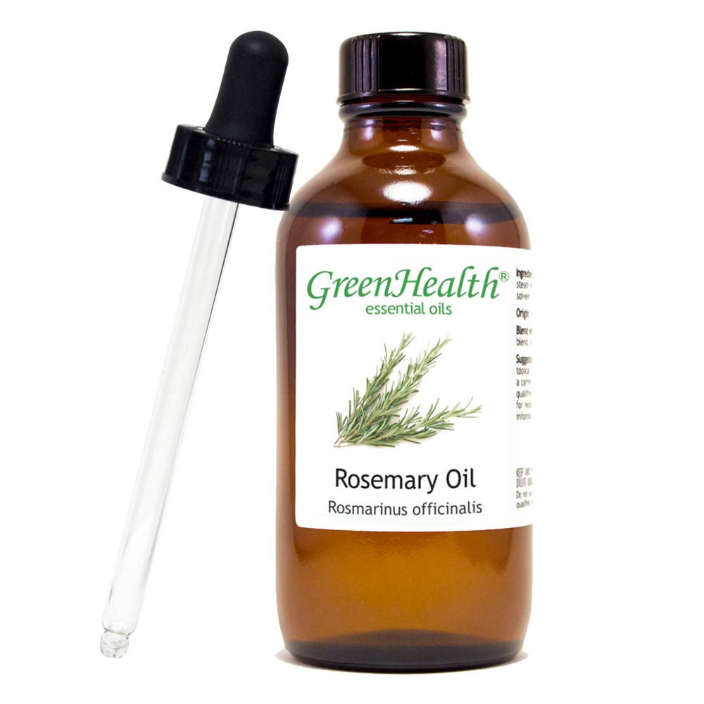 Rosemary Essential Oil - 4 fl oz (118 ml) Glass Bottle w/ Cap & Additional Glass Dropper - 100% Pure Essential Oil by GreenHealth
