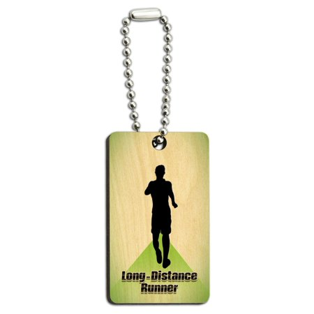 Long-Distance Cross Country Running - Runner Man Wood Rectangle Key Chain - Cross Key Chains