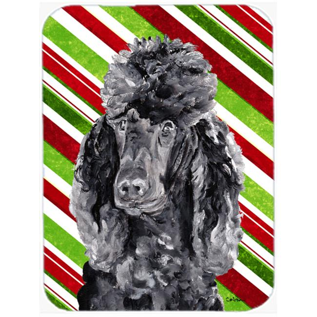 Black Standard Poodle Candy Cane Christmas Mouse Pad, Hot Pad Or Trivet, 7.75 x 9.25 In.