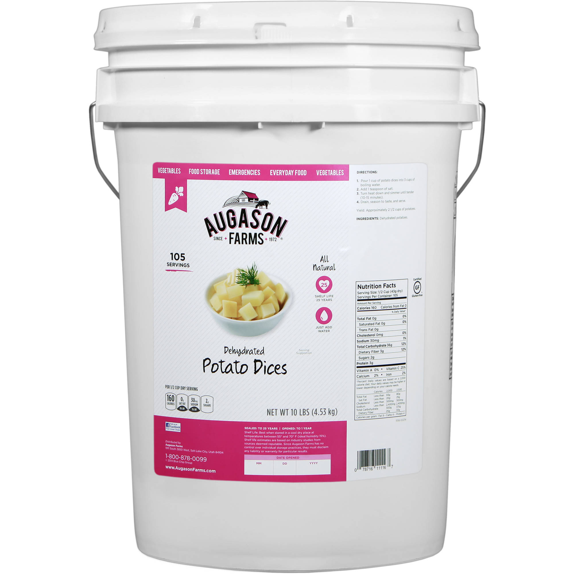 Augason Farms Dehydrated Potato Dices, 10 lbs