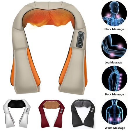 DC12V 25W Shiatsu Kneading Neck Back Leg Waist Body Shoulder Massager W/ Heat ,European Plug