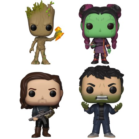 Funko POP! Marvel Infinity War Series 2 Collectors Set - Groot w/ Stormbreaker, Young Gamora w/ Dagg, Bucky Barnes w/ Weapon, Bruce Banner w/ Hulk (World At War Best Weapons)