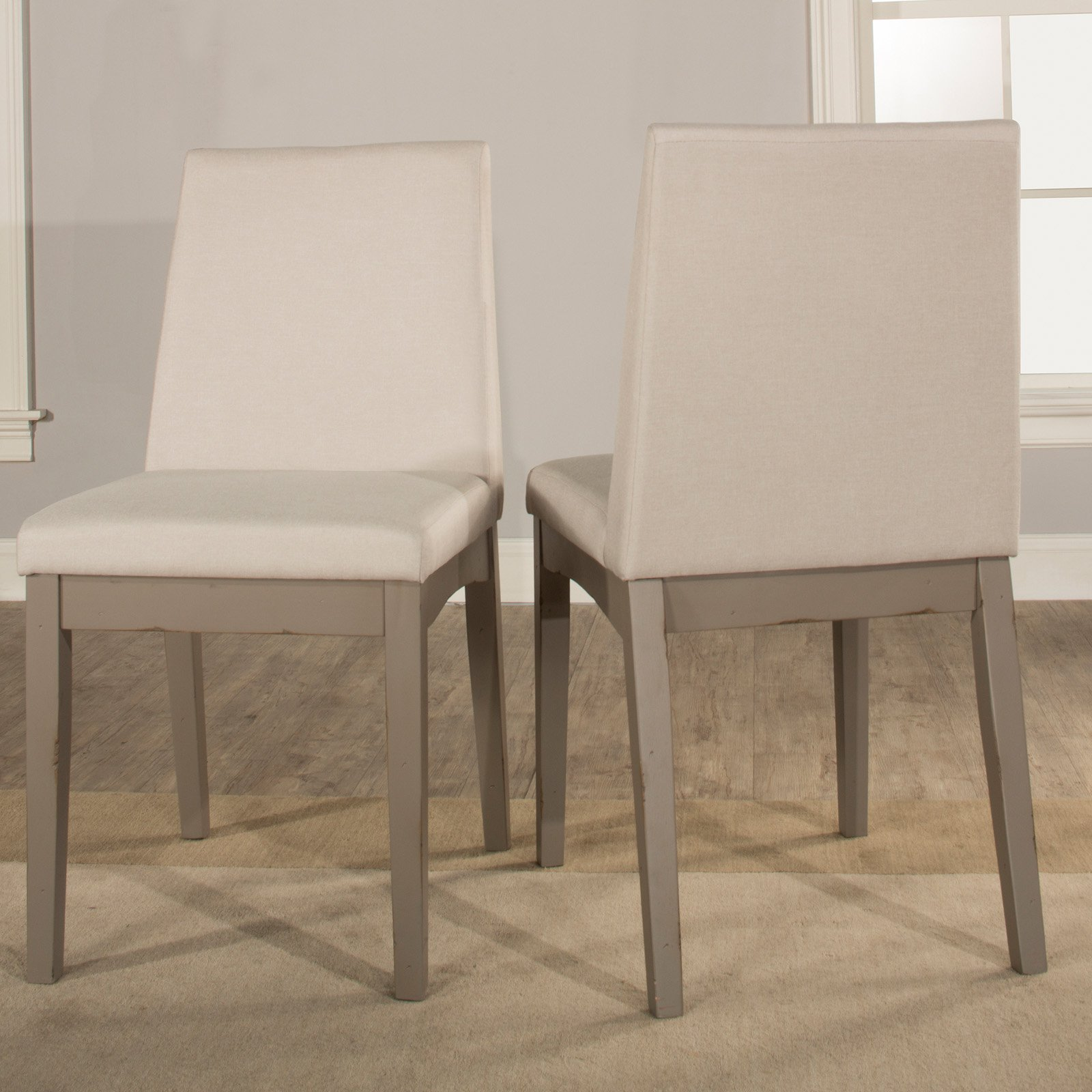Hillsdale furniture clarion upholstered dining chair set of 2 distressed gray walmart com