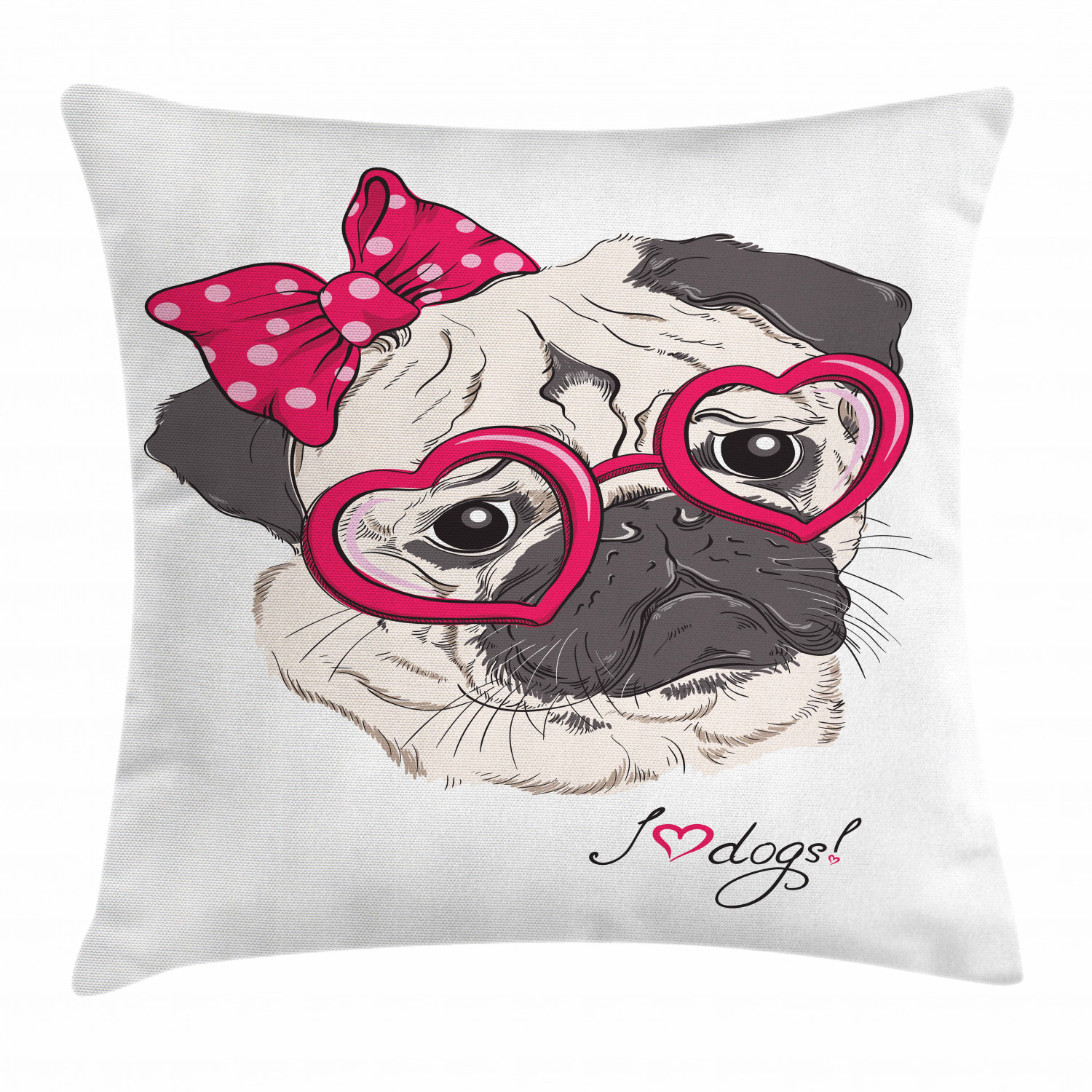 Pug Throw Pillow Cushion Cover Cartoon Style Fashion Portrait Of Hipster Pug Dog With Heart Shaped Glasses Decorative Square Accent Pillow Case 18 X 18 Inches Grey Cream And Magenta By Ambesonne