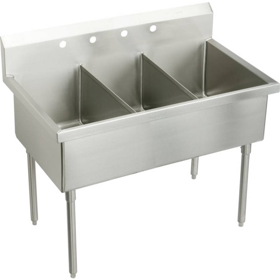 Elkay WNSF83724 Commercial Weldbilt Scullery Sink with 4 Faucet Holes