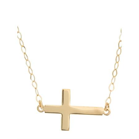 - 14kt Yellow Gold Flat Sideways Cross Necklace, 18