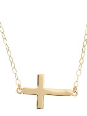 "14kt Yellow Gold Flat Sideways Cross Necklace, 18"""