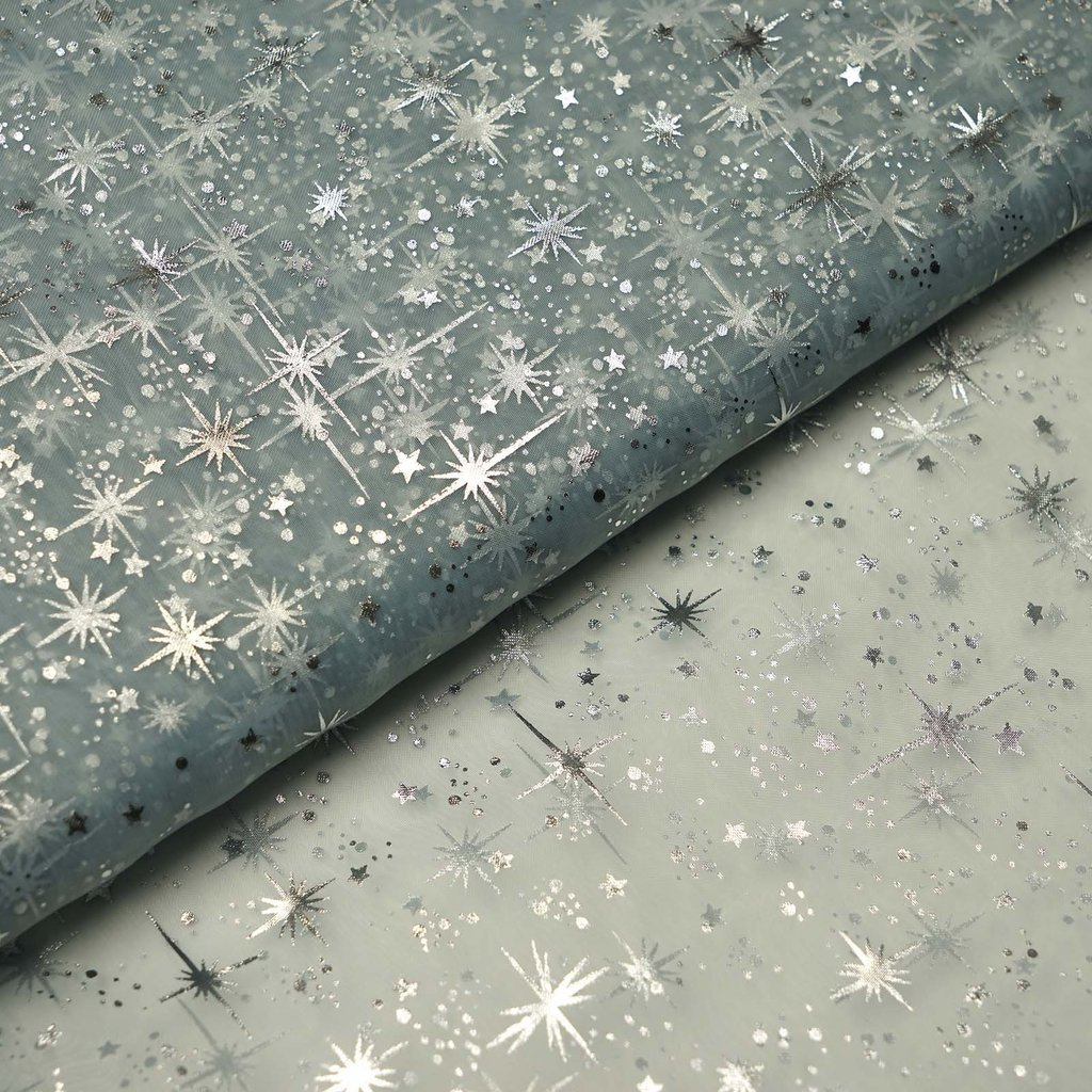 """BalsaCircle 54"""" x 15 yards Silver Stars Design Tulle Organza Fabric by the Bolt Crafts Sewing Wedding Party Draping DIY Decorations"""
