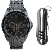 Men's Gunmetal-Tone Watch Gift Set with Multi-Tool Accessory