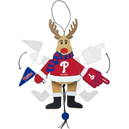 Topperscot by Boelter Brands MLB Wooden Cheering Reindeer Ornament, Philadelphia Phillies](Reindeer Handprint Ornament)