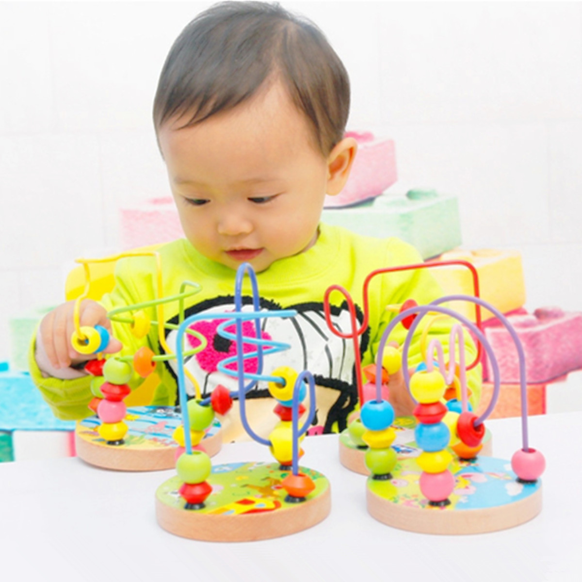 1Pc Baby Kids Wooden Mini Around Beads Infant Intelligence Educational Game Toy Random Delivery