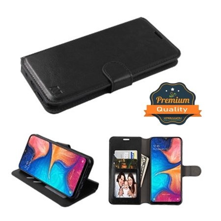 Samsung Galaxy A20 Phone Case Leather Flip Wallet Case Stand Pouch Folio Book Magnetic Buckle with Credit Card / ID Slots Holder & Cash Pokcet [Kickstand] BLACK Cover for Samsung Galaxy A20 /A205