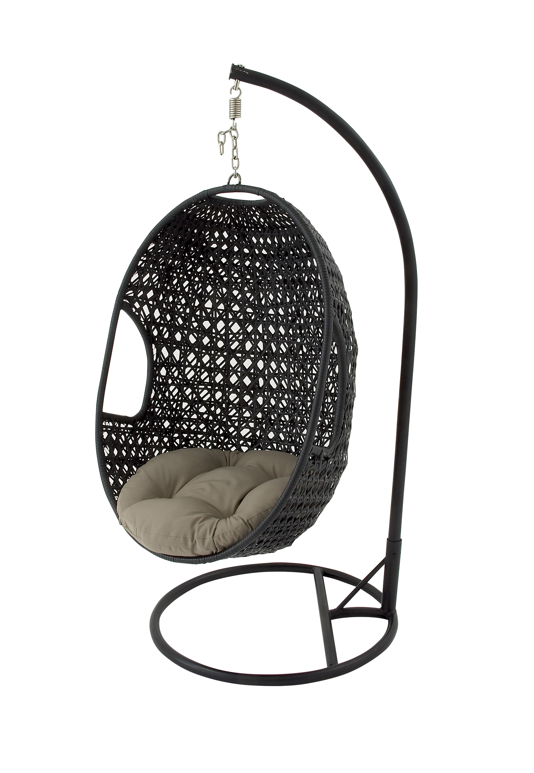 Outstanding Decmode Modern 80 X 37 Inch Black Resin Wicker Rattan Hanging Egg Chair With Cushion And Stand Ocoug Best Dining Table And Chair Ideas Images Ocougorg