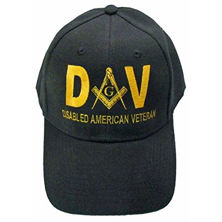 Veteran Black Hat (Mason Hat Disabled American Veteran DAV Masonic Freemason Cap Mens)