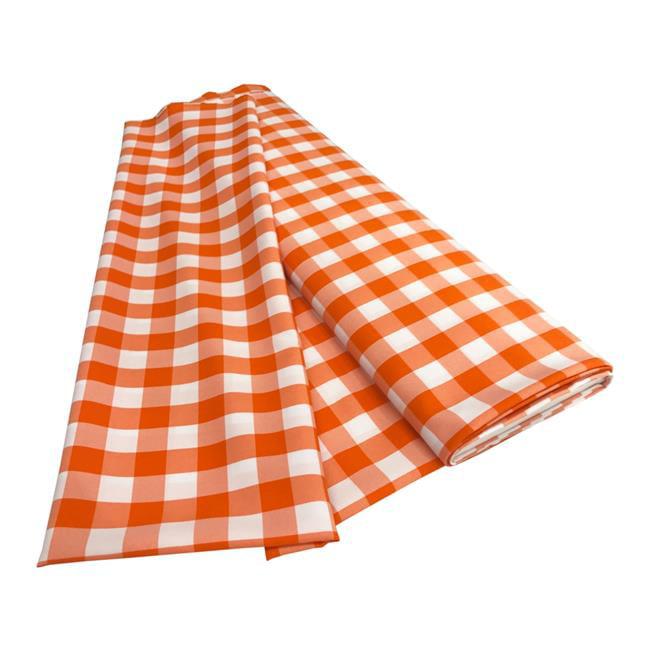 LA Linen CheckBolt-10Yrd-OrangeK48 10 Yards Gingham Checkered Flat Fold, White & Orange