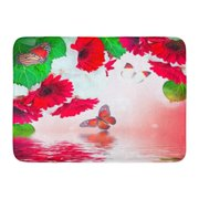GODPOK Orange Beauty Pink Spring Multi Colored Gerbera Daisies and Butterfly on White Green Beautiful Red Rug Doormat Bath Mat 23.6x15.7 inch