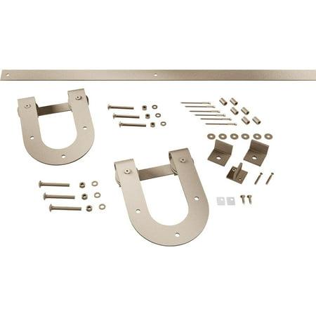 Premium Horseshoe Barn Door Hardware Set w 5 Track for 1 3 8 Doors Wh