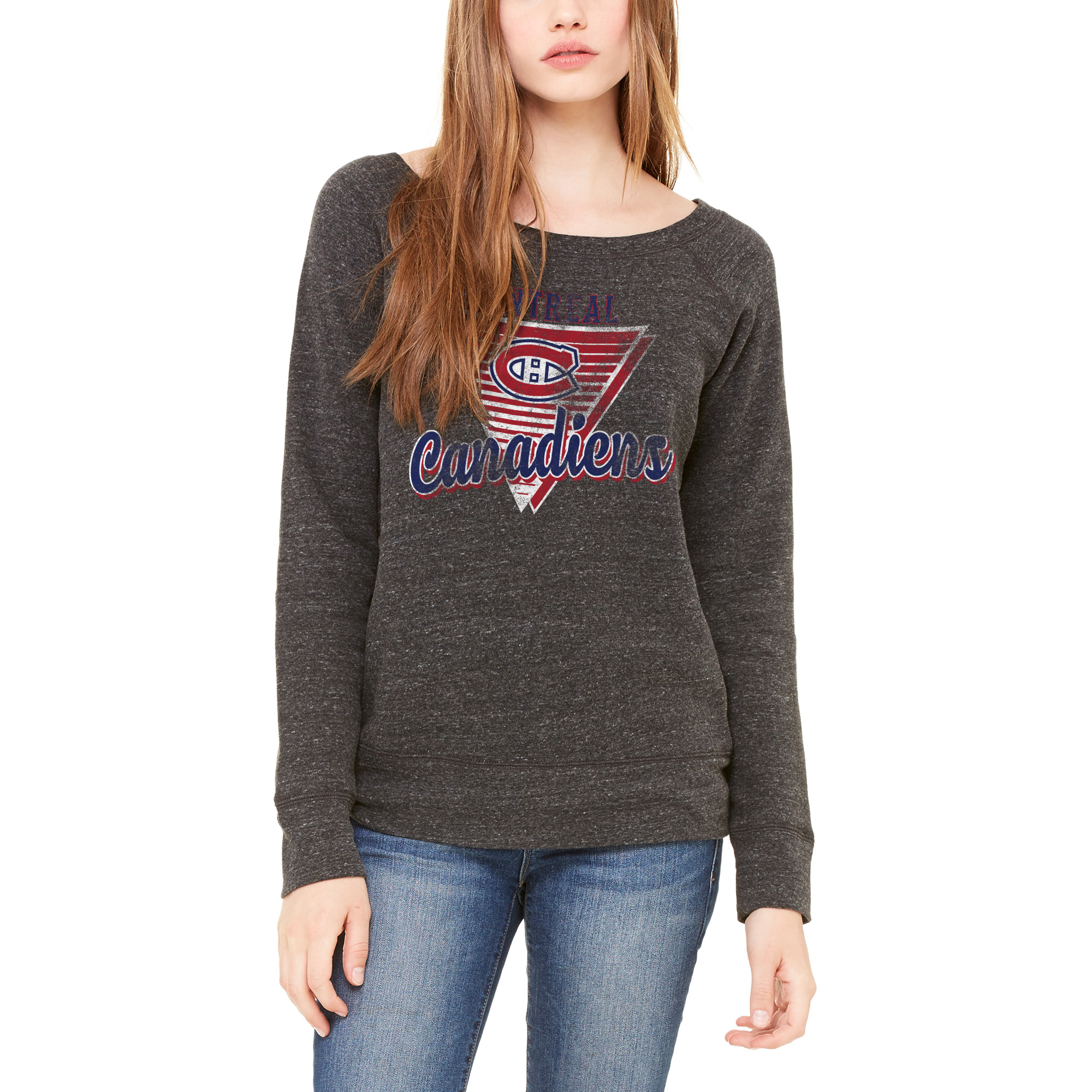 Montreal Canadiens Let Loose by RNL Women's Eighty Something Wide Neck Sweatshirt - Heathered Charcoal