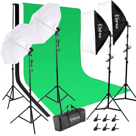 Ktaoxn Photography Studio Video Photo Green Screen Background Support Kit , 2 x Studio Photography Umbrella Lighting Set , 2 Point Softbox with Support - Halloween Screen Backgrounds