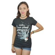 Hello Kitty Who Cares About Mermaids When There's Kitty Quote Black T-shirt