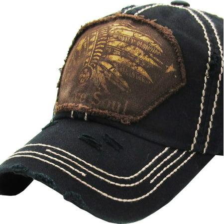 Brave Cap (Indian Head Brave Soul Vintage Distressed Washed Baseball Hat)