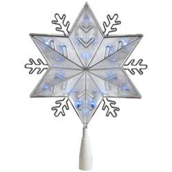 "10"""" Silver 8-Point Snowflake Christmas Tree Topper - Blue Lights"