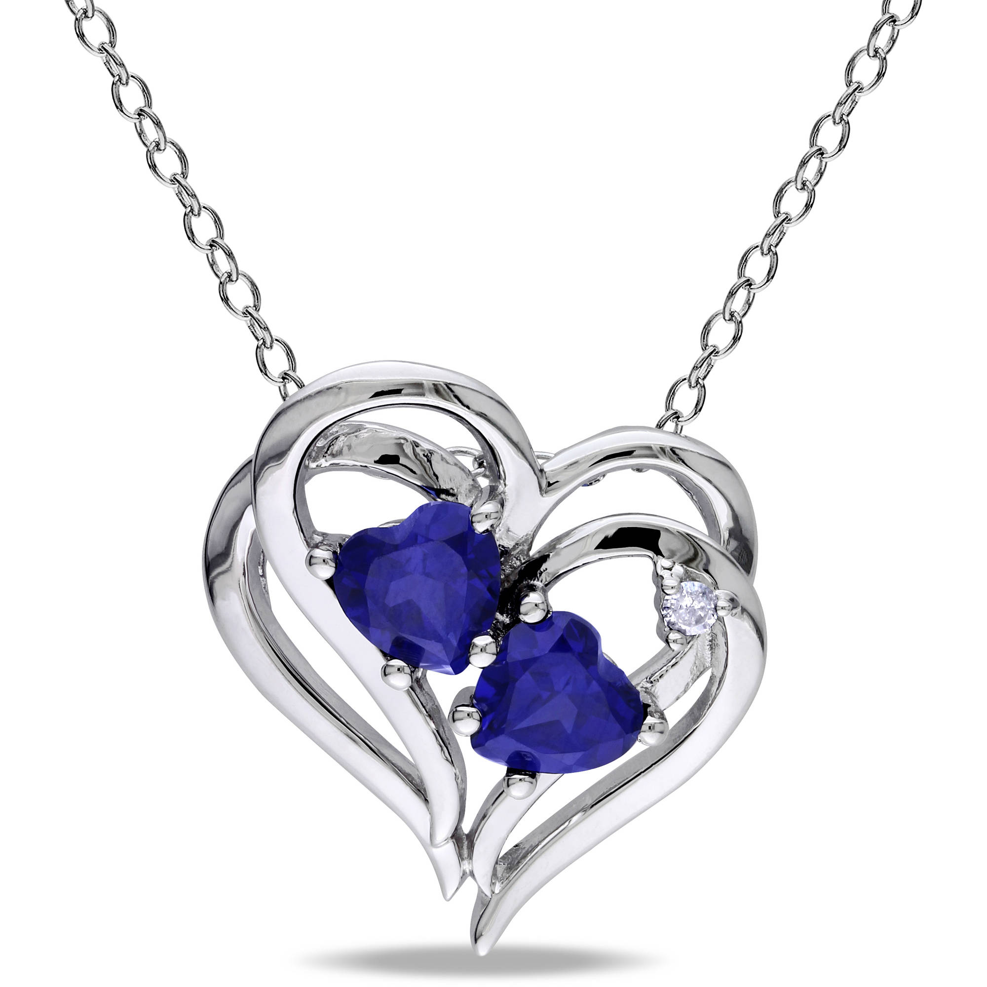 Tangelo 1-1/8 Carat T.G.W. Created Blue Sapphire and Diamond-Accent Sterling Silver Heart Pendant, 18""