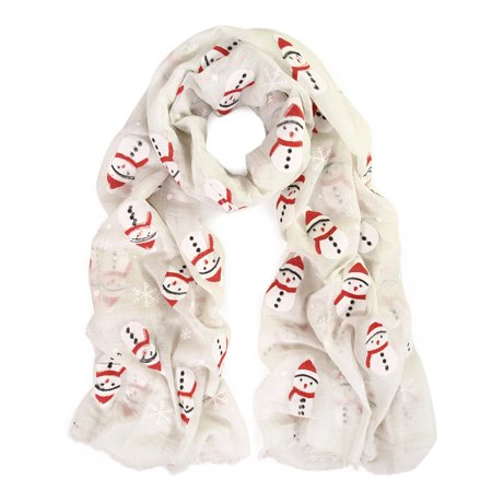 Herringbone Scarf Pattern (Holiday Christmas Snowman Snowflake Print Winter 3D Patterned Scarf)