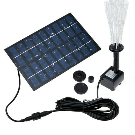 Fountain Pump Set, Solar 1.8W Submersible Outdoor Water Fountain Pump with 4 Sprinkler Heads for Different Water Flows, Perfect for Bird Bath, Pond and Water Circulation (9.8FT Cord)