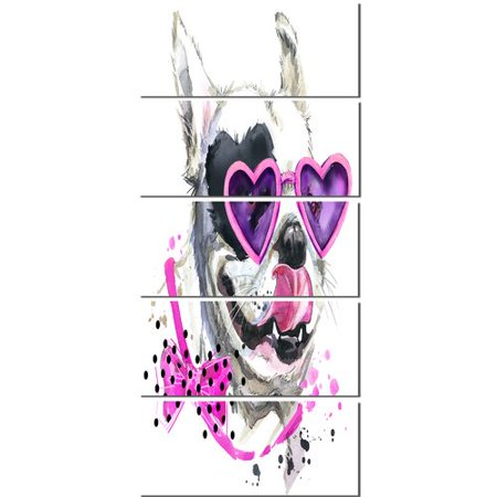 Design Art 'Funny Dog with Heart Glasses' 5 Piece Painting Print on Wrapped Canvas