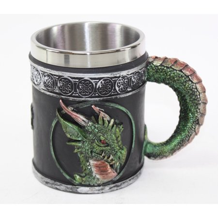 Mythical Green Royal Dragon Mug Serpent Handle Medieval Collectible Magical Halloween Party Home Decor -