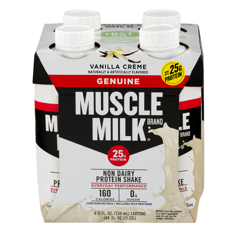 Muscle Milk Geniune Shake, 25 Grams of Protein, Vanilla Crème, 11 Oz, 4 Ct