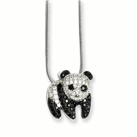 Sterling Silver & CZ Brilliant Embers Panda Necklace (Silver Prada)