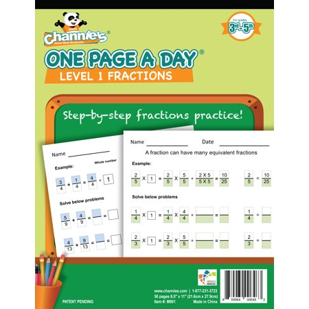 Channie's One Page A Day Workbook, Beginner Fraction Math Practice Worksheets, 50 Pages Front & Back, 25 Sheets, Grades 3rd, 4th, and 5th, Size 8.5
