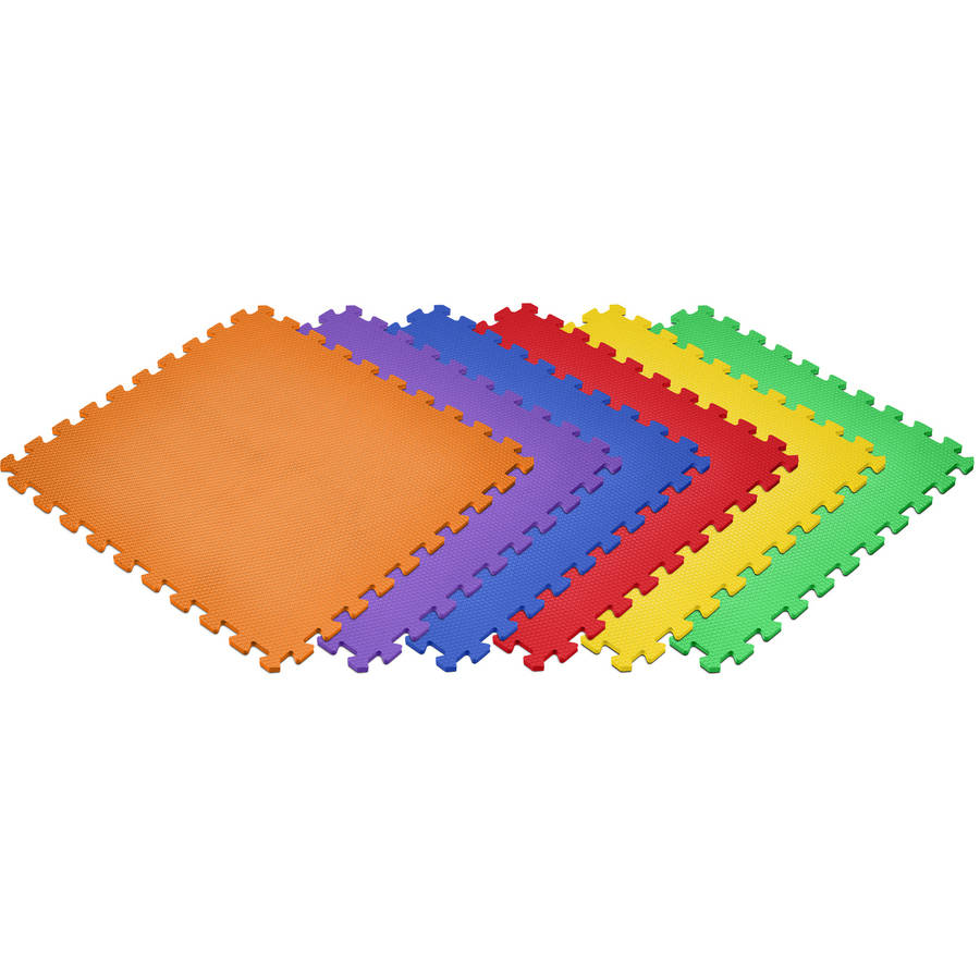 Norsk 24 sq ft Interlocking Foam Floor Mat, 6-Pack, Rainbow