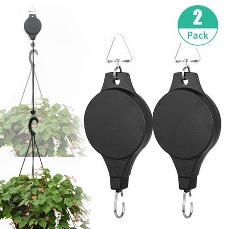 EEEKit 2 PACK Plant Pulley Retractable Hanger, Hanging Planters Flower Basket Hook, Hanging Garden Baskets Pots and Birds Feeder Hang High Up and Pull Down to Water and Feed, Black